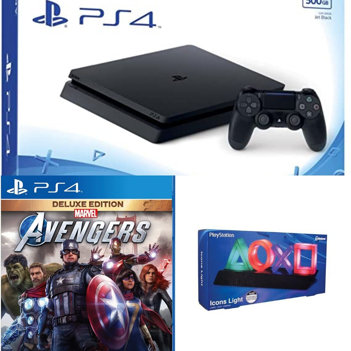 Sony PS4 Slim 500GB Black + Marvel Avengers - Deluxe Edition + Playstation Icons Light