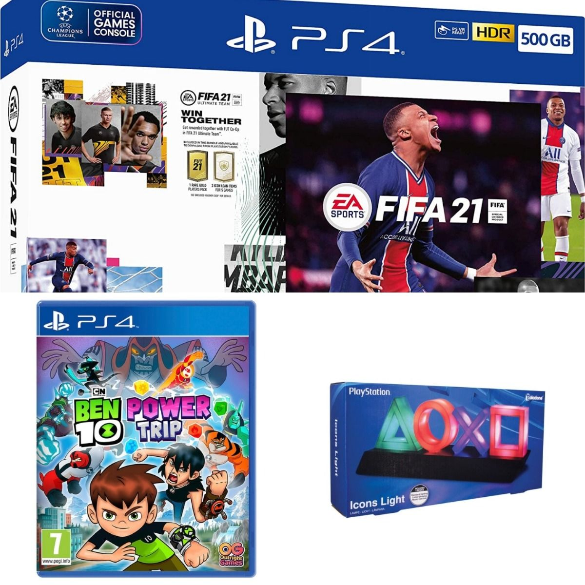 EA Sports Fifa 21 500GB PS4 Console + Second DualShock 4 Wireless Controller Bundle + Ben 10 + Playstation Icons Light