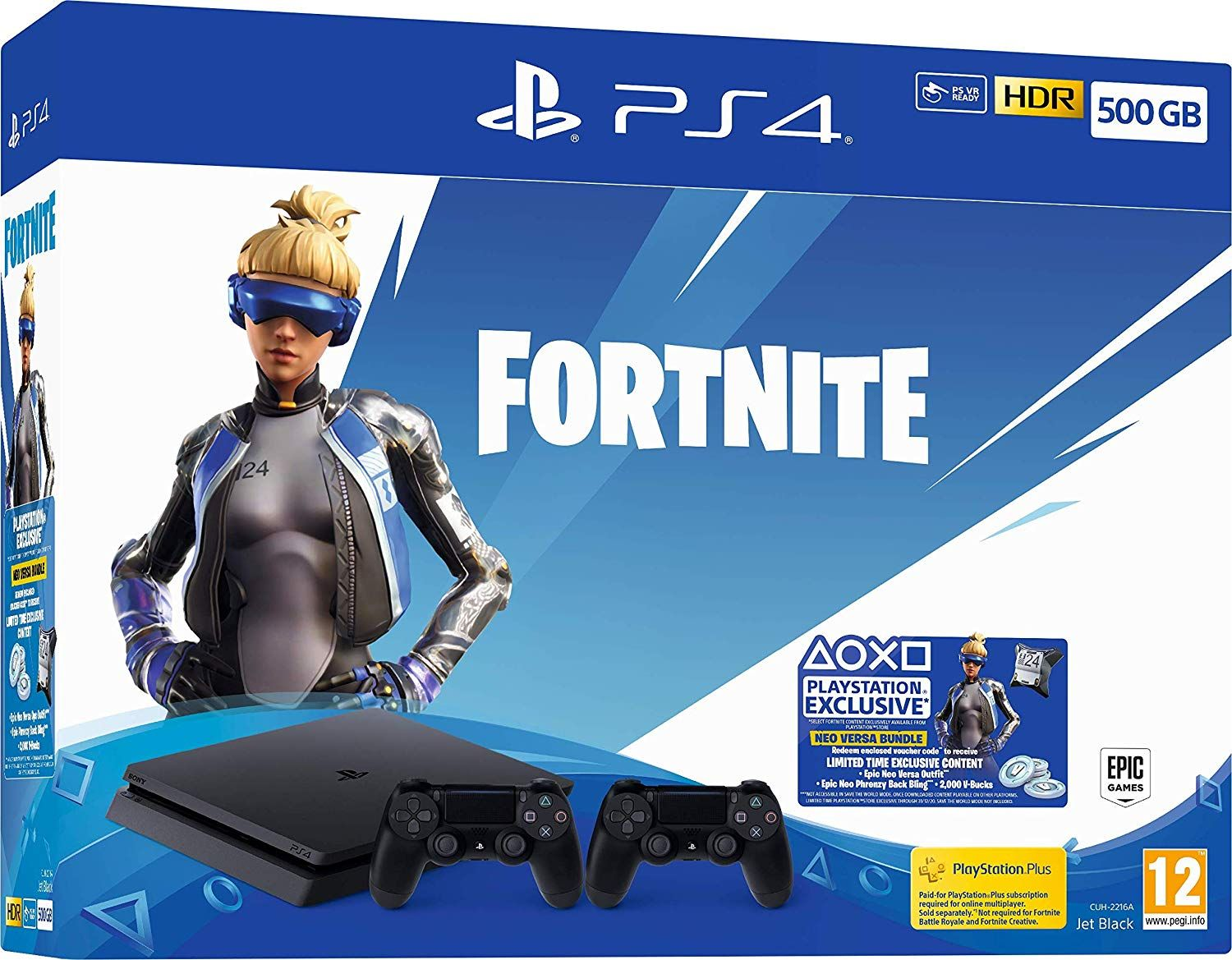 PlayStation 4 500GB Console with Fortnite Neo Versa & Second DualShock Controller (PS4)
