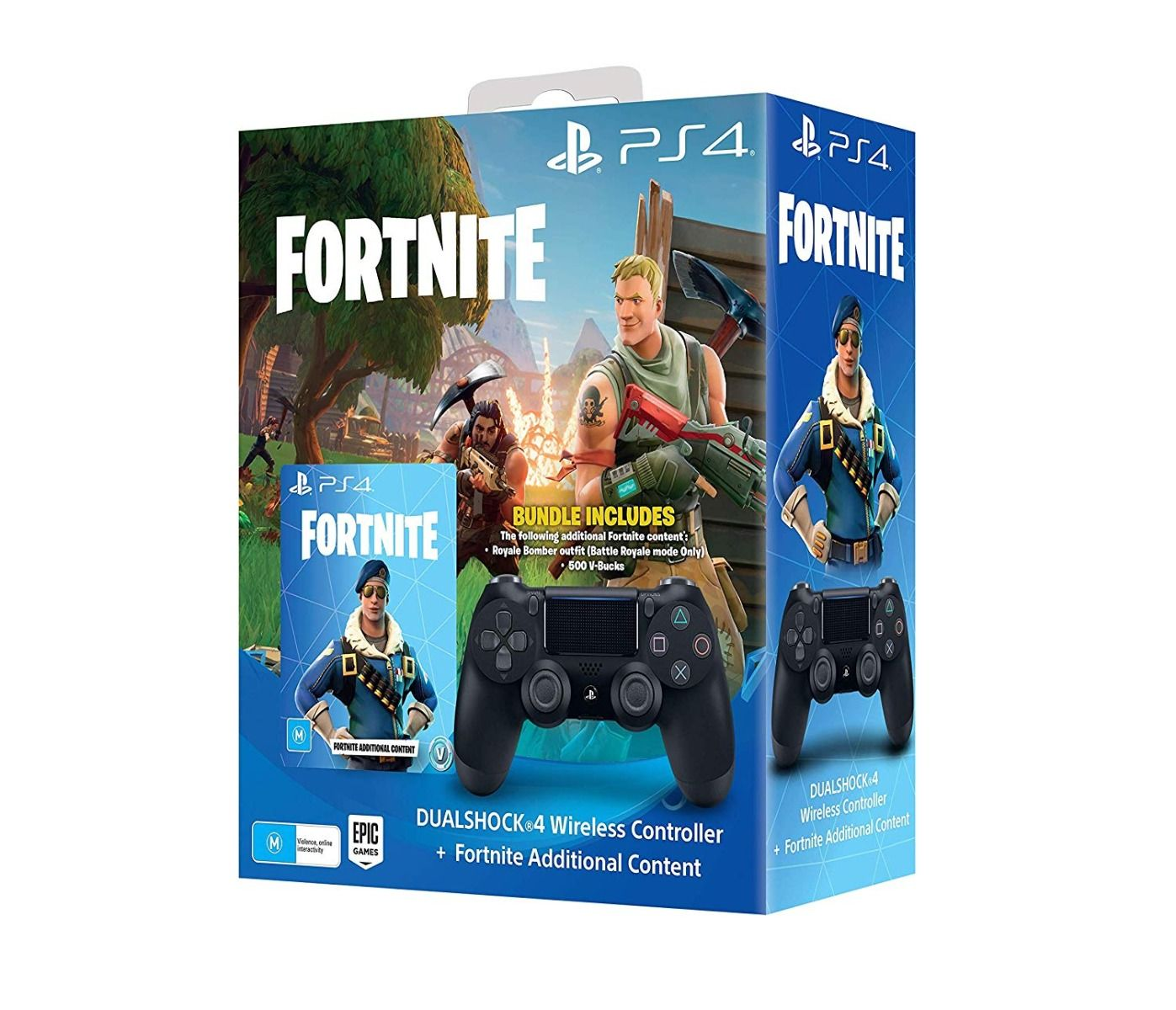 PlayStation 4 Black Controller V2 + Fortnite Additional Content (PS4)