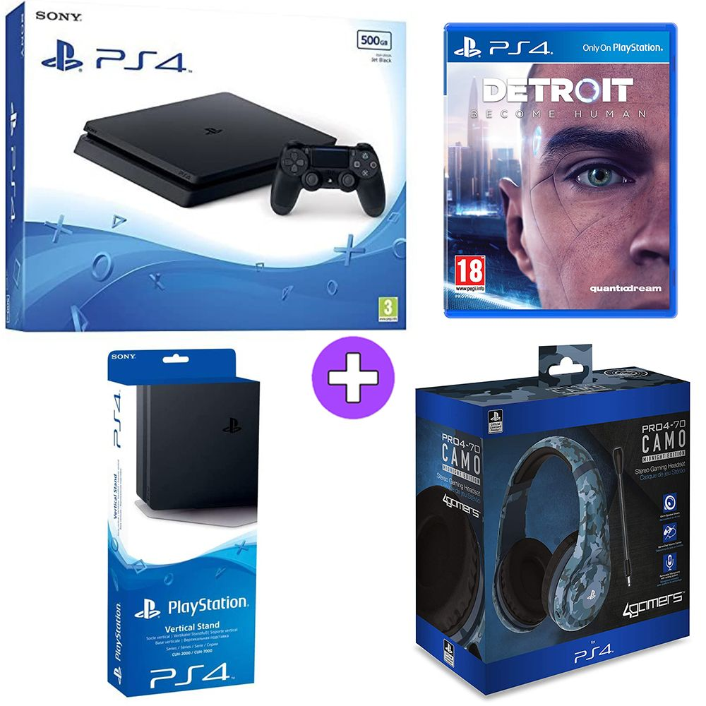 Sony PlayStation 4 500GB Console - Black with Vertical Stand, PRO4 70 Midnight Camo Headset and Detroit Become Human (PS4)
