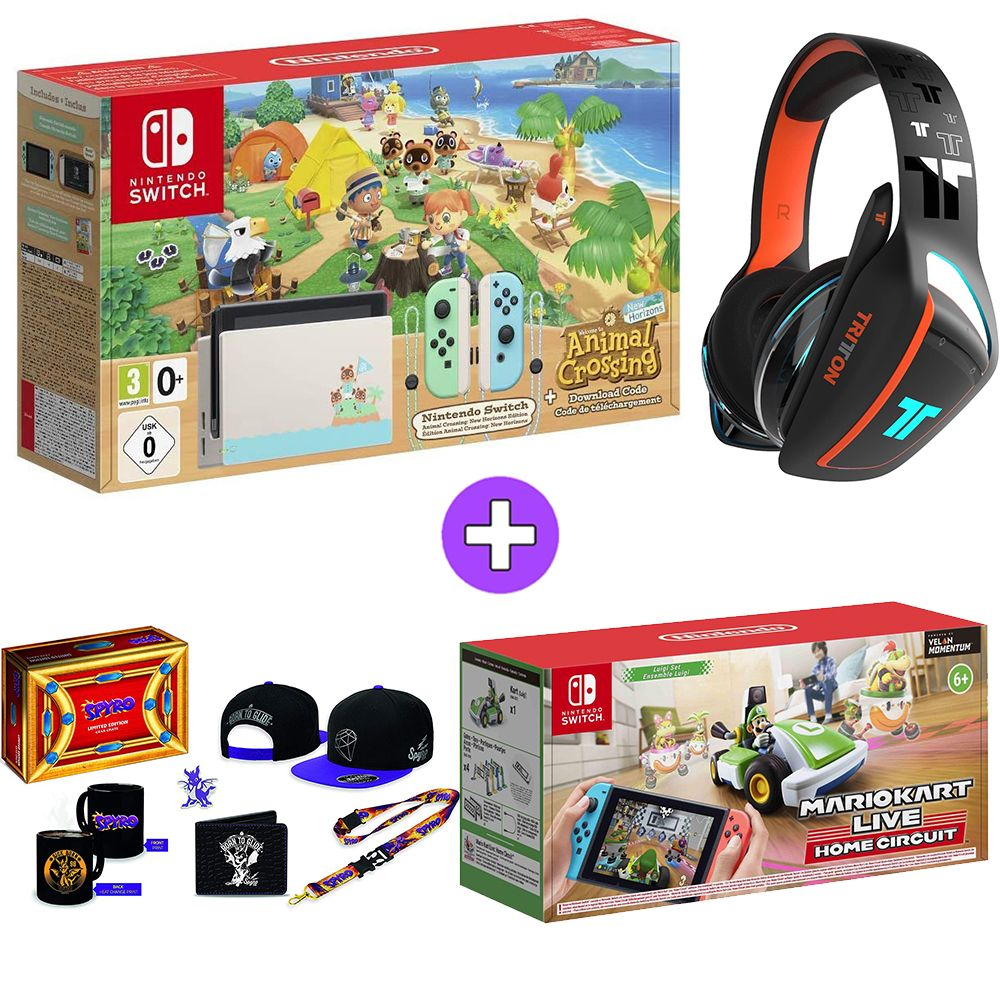 Nintendo Switch Console Animal Crossing: New Horizons Edition with Mario Live Home Circuit - Luigi, Tritton Ark 100 Headset - Black and Spyros Big Loot Crate