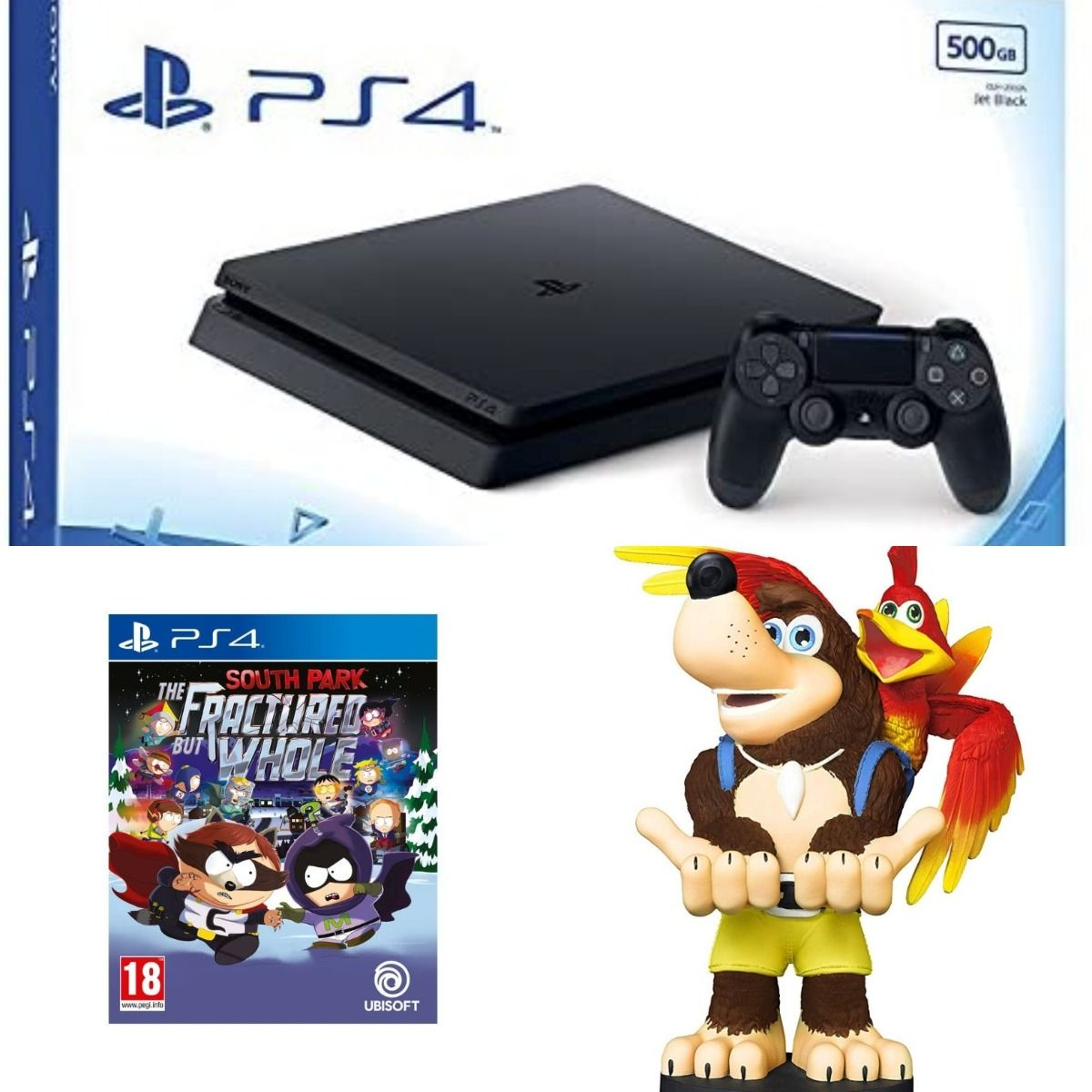 Sony PS4 Slim 500gb Black + South Park The Fractured But Whole + Cable Guy - Banjo Kazooie