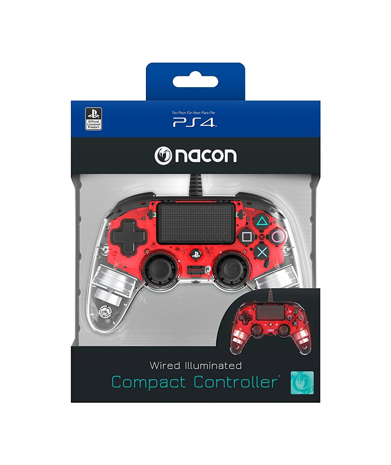 Nacon Wired llluminated Compact PlayStation 4 Controller - Red (PS4)