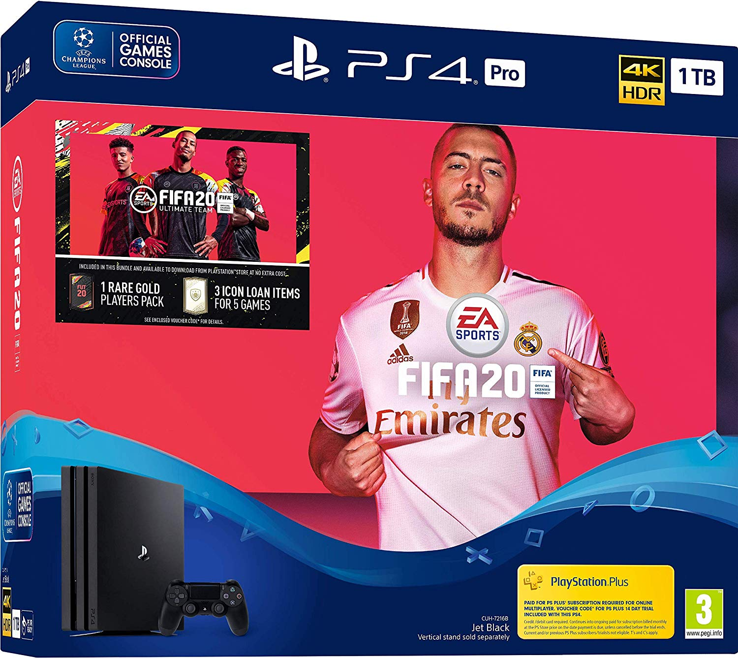 Sony PlayStation 4 Pro 1TB with FIFA 20 - Black (PS4)